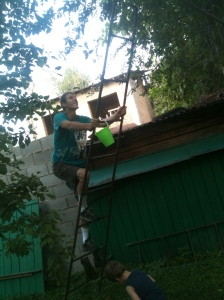 Me climbing a soviet-era ladder to get plums in the tree top.