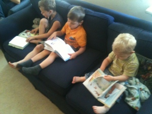 Kids reading Bible stories