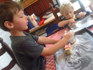 My boys -- ages 2, 4 and 6 -- were absorbed in contented play for about 45 minutes with soap foam.